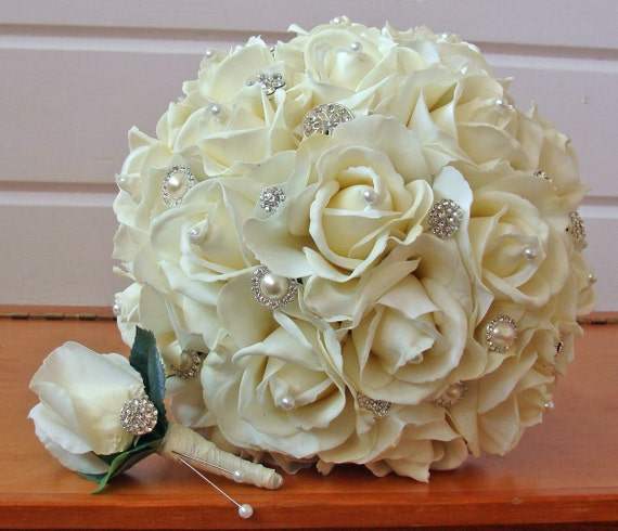 Silk Flower Bridal Bouquet Real Touch Roses & Rhinestones in Ivory Silk Flower Real Touch Rose Groom's Boutonniere
