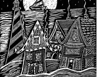 Whimsical, Folk Art, Original Scratchboard, Lighthouse, Village and The Moon