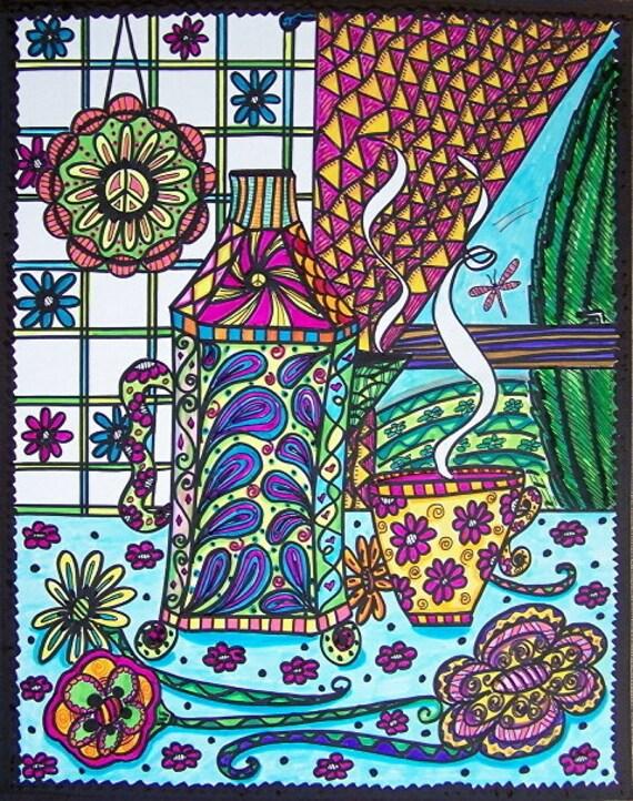 Hippie Art Poster, Original, A Hippie's Morning