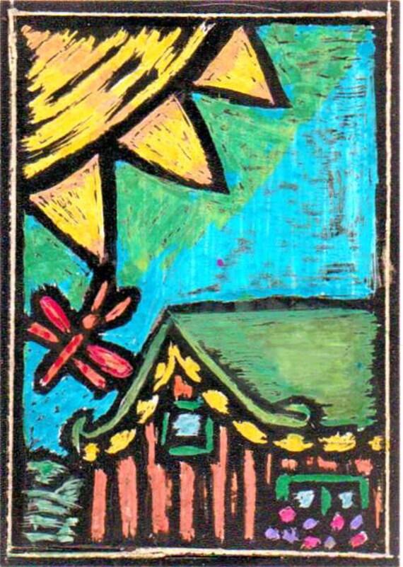 Aceo, Original Folk Art, The Cottage,Hippie Art Collectible Card, ACEO Original, keep or trade card