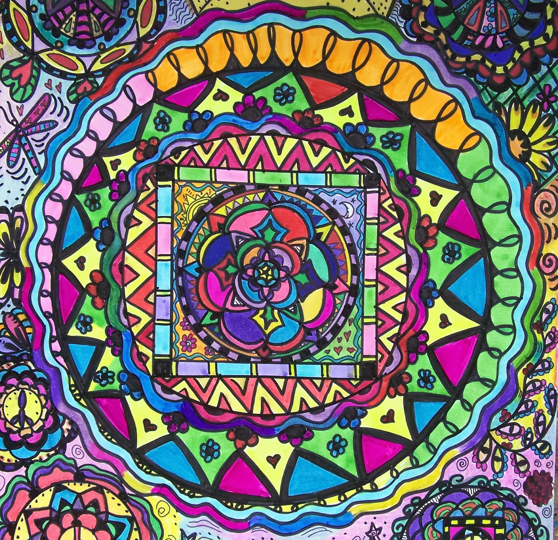 Hippie Art Mandala Sun Peace Crown Original