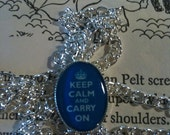 Keep Calm and Carry On Necklace in Dark Blue