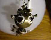 Gold Robot Pendant Necklace