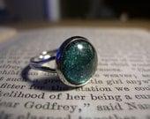 CLEARANCE ITEM: Green and Silver Nail Polish Ring