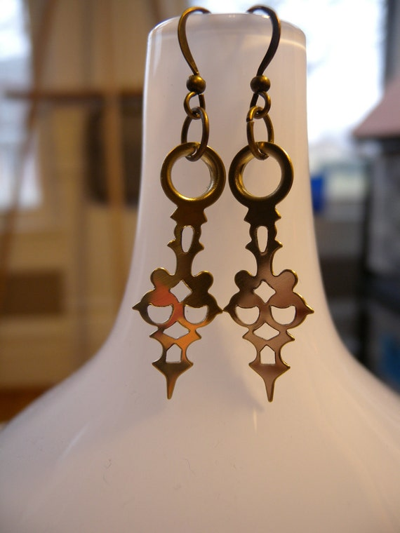 CLEARANCE ITEM: Gold Watch Hand Earrings