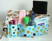 20 inch / 6 pockets Purse / Bag Organizer Insert - (small) cupcake and polka dots fabric