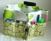 27 inch / 8 pockets Purse / Bag Organizer Insert - (Large) Limegreen Flower Design with cucumber print  Pockets