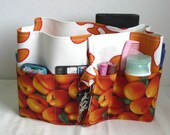 27 inch / 8 pockets Purse / Bag Organizer Insert - (Large) Orange Flower Design with peaches print  Pockets