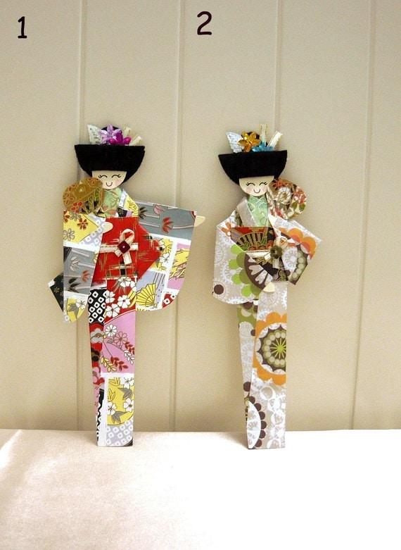 Origami Japanese Girl Geisha Bookmarks Set of 2 SALE - photo#38