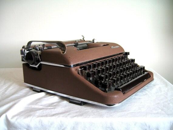Vintage Olympia SM3 Manual Typewriter, Sepia Brown - New Ribbon
