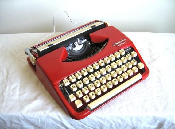 SALE - Rose RED Vintage Olympia Splendid 33 Metal Typewriter - Candace