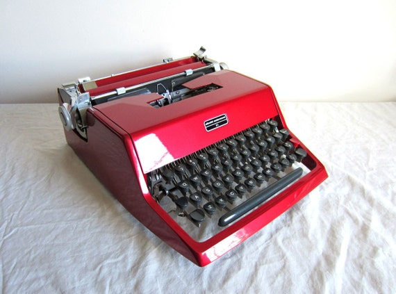 RSVD for Scandicaravan - On Sale - Wine Red Olivetti 21 Manual Typewriter - Pica Font - Randolph - Professionally Serviced