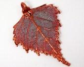 Copper Plated Birch Leaf Pendant