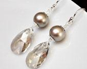 Bridesmaid Earrings. Silver Crystal Earrings. Long Crystal Pearl Earrings. Teardrop Earrings. Bridesmaids Jewelry, Bridesmaid Jewellery