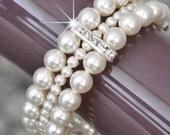 Pearl Bridal Bracelet, Bridal Cuff Bracelet, Bridal Pearl Bracelet, Swarovski Bridal Jewellery