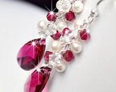 Ruby Red Bridesmaid Earrings. Long Crystal Teardrop & Pearl Wedding Earrings. Crystal and Ivory Pearl Cluster Drop Jewellery