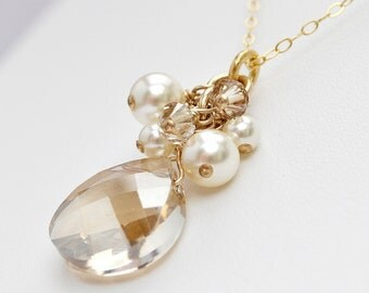 Golden Crystal Pendant Necklace. 14kt Gold Fill Bridal Necklace. Ivory Pearl and Golden Champagne Crystal Pendant for the Fall Autumn Bride