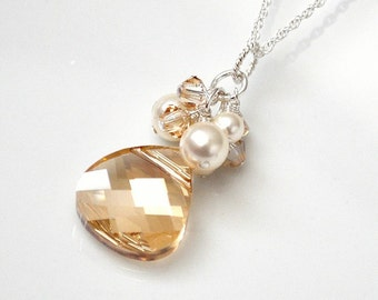 Golden Crystal Pendant. Wedding Necklace. Bridal Necklace. Champagne Crystal Necklace. Pearl Bridesmaid Jewelry for Fall Wedding