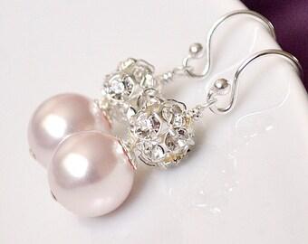 Pink Bridesmaid Earrings, Flowergirl Earrings, Pink Pearl Earrings, Pink Earrings, Silver Bridesmaid Jewelry, Bridesmaids Jewellery