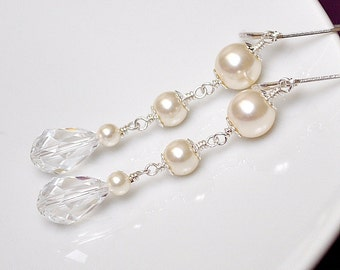 Bridal Earrings, Ivory Pearl and Teardrop Crystal Sterling Silver Sparkle Wedding Jewellery for the Bride or your Bridesmaids Gifts