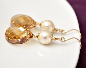 Bridemaid Jewelry, Gold Bridesmaid Earrings, Golden Crystal Earrings, Champagne Earrings, Bridesmaids Jewellery