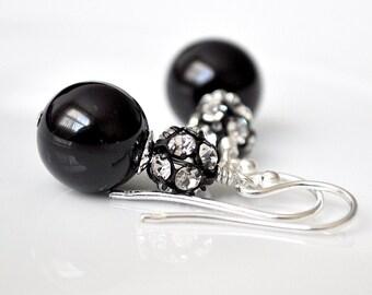 Black Bridesmaids Earrings. Rhinestone Pearl Drop Earrings. Black Earrings for Bridesmaids Jewelry. Black Pearl Earrings