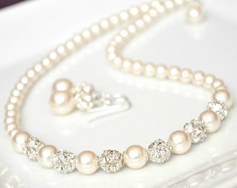 Bridal Jewelry Set, Swarovski Bridal Jewelry Set, Rhinestone & Pearl Necklace Earrings SET