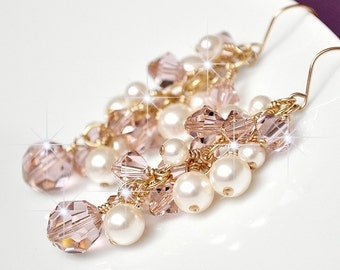 14kt Gold Rose Crystal Earrings, Rose Gold Earrings, Pink Crystal Earrings, Long Cluster Earrings