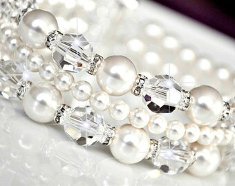 Bridal Cuff Bracelet, Swarovski Bridal Bracelet, Crystal Bridal Bracelet, Wedding Bridal Jewelry