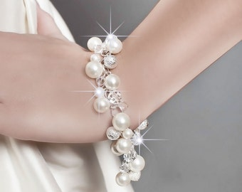 Wedding Bracelet, Wedding Pearl Bracelet, Bridal Jewelry Wedding Bracelet, Swarovski Wedding Bracelet