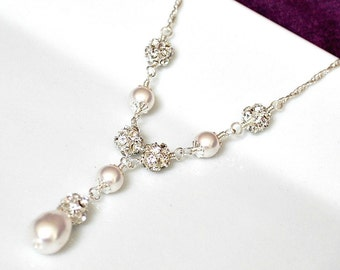 Bridal Necklace, Pearl Bridal Necklace, Swarovski Bridal Jewelry, Pearl Wedding Necklace, Bridal Y Necklace, Sterling Silver Wedding Jewelry