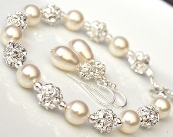 Swarovski Bridal Jewelry SET, Bridal Jewellery, Bracelet and Earrings SET, Pearl Jewelry SET