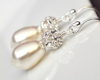 Vintage Style Bridal Earrings, Teardrop Wedding Earrings, Art Deco Bridal Earrings, Ivory Pearl Earrings, Wedding Jewelry