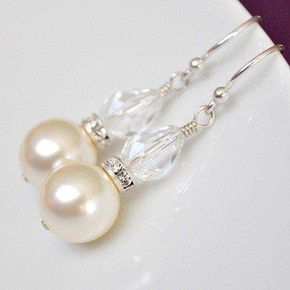 Wedding Earrings. Crystal Pearl Drop Earrings. Bridal Earrings. Drop Pearl Earrings. Ivory Pearl Earrings, Ivory Pearl Jewelry