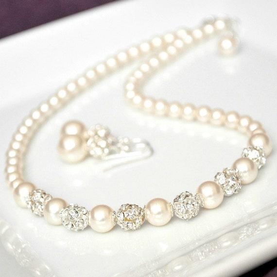 Bridal Jewelry Set, Swarovski Bridal Jewelry Set, Rhinestone & Pearl Necklace Earrings SET