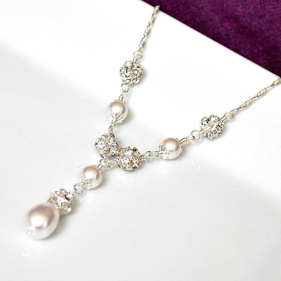Bridal Necklace, Pearl Bridal Necklace, Swarovski Bridal Jewelry, Pearl Wedding Necklace, Bridal Y Necklace, Sterling Silver Wedding Jewelry