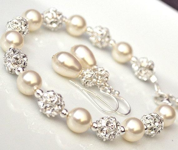 Swarovski Bridal Jewelry SET, Bridal Jewellery, Bracelet and Earrings SET, Pearl Jewelry SET
