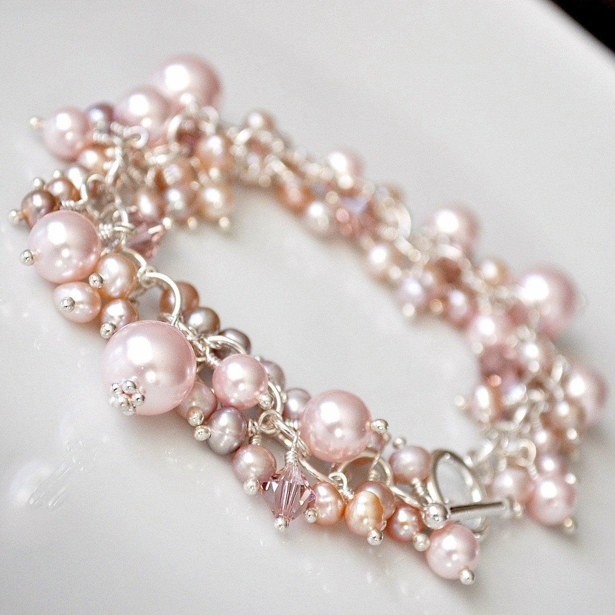 Pink Pearl Bracelet. Freshwater Pearl Bracelet Chunky Cluster
