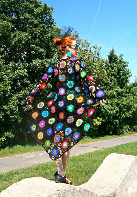 Abstract Pop Art Crochet Cardigan