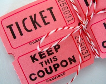 Pink double raffle tickets