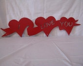 Valentine  Heart 3 on a Ribbon Metal Wall Art Silhouette Red