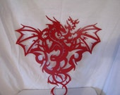 Dragon 002 L Metal Wall Art Silhouette Red