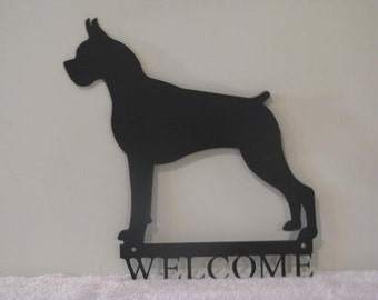 Boxer Welcome Metal Wall Art Silhouette by cabinhollow