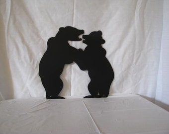 Bear Cubs Fighting Metal Wall Art Wildlife Silhouette