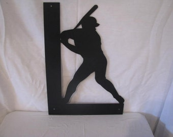 Baseball Batter with Name Metal Sports Wall Art Silhouette