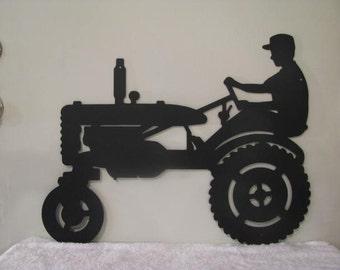 Farmer on Tractor Metal Wall Yard Art Silhouette by cabinhollow