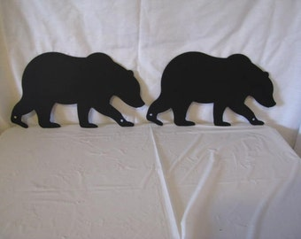 Bear 2 Metal Wildlife Wall Yard Art Silhouette Set of (2) Handmade