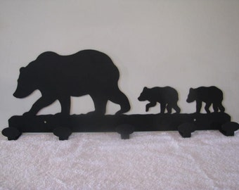 Bear and Cubs Coat Rack Metal Wildlife Wall Art Silhouette