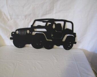 Jeep CJ Off Road Metal Wall Art Silhouette