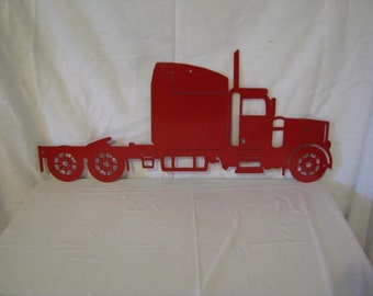 Red Semi Truck Metal Wall Yard Art Silhouette